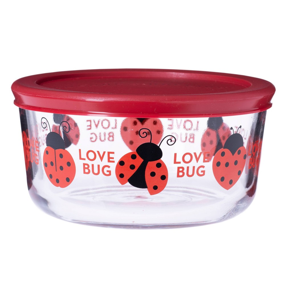 Image of Anchor 32oz Glass Floral Love Bug Food Storage Container Red, Clear