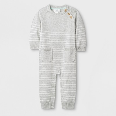 Baby Long Sleeve Romper - Cloud Island™ Gray 0-3M
