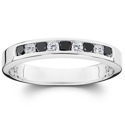 Pompeii3 1/3ct Black & White Diamond Channel Set White Gold Ring