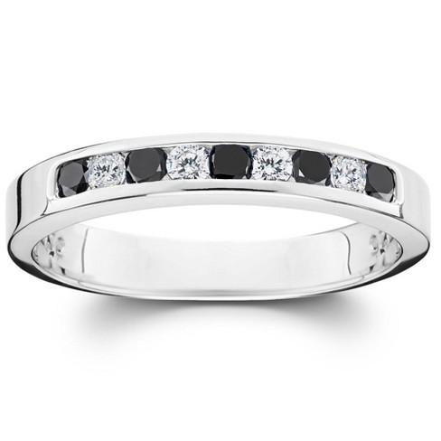 Pompeii3 1/3ct Black & White Diamond Channel Set White Gold Ring - image 1 of 3