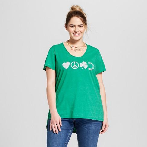 839d0e770c7 Women s Plus Size St. Patrick s Day Clover Printed Short Sleeve V-Neck  Graphic T-Shirt - Grayson Threads (Juniors ) - Green