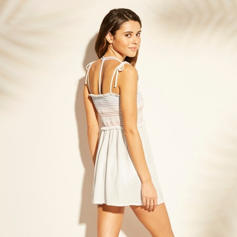 d8b6aa594a Women s Smocked Shoulder Tie Cover Up Dress - Xhilaration™ White L   Target