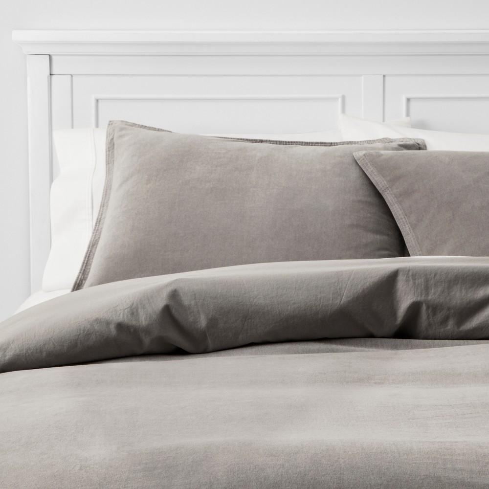 Image of King Solid Velvet Duvet Cover Set Gray - Threshold