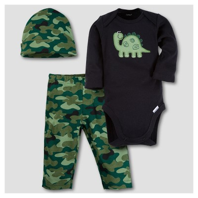 Gerber® Baby Boys' Dinosaur 3pc Long Sleeve Onesies® Bodysuit, Pants and Hat Set - Camo 3-6M