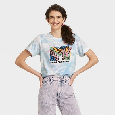 Women's MTV Animal Print Logo Short Sleeve Graphic T-Shirt - Blue Tie-Dye