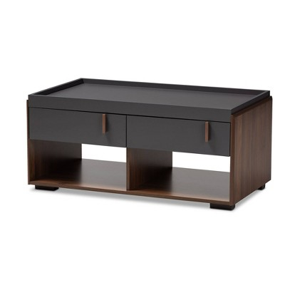 2 Drawer Rikke Two-Tone Wood Coffee Table Gray - Baxton Studio