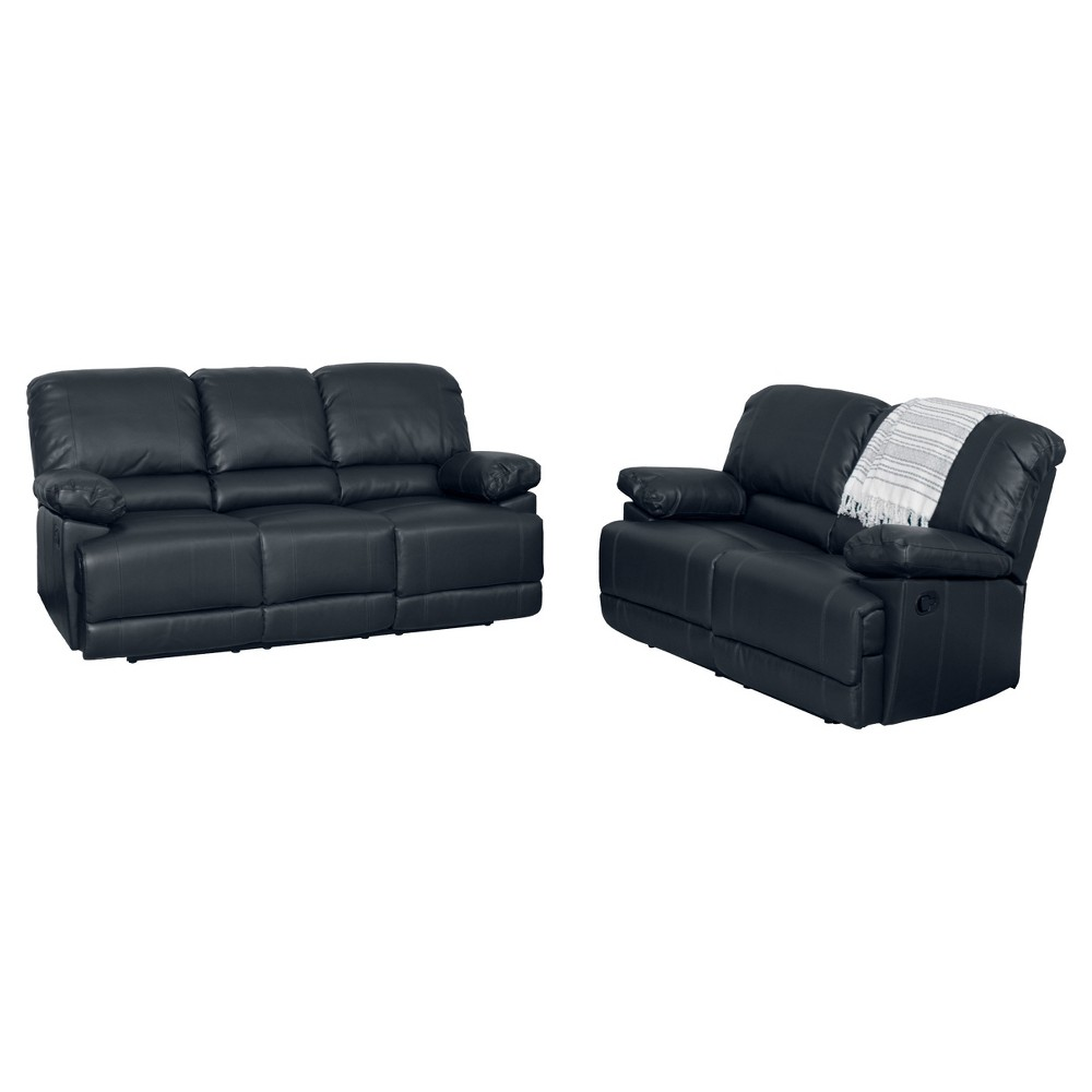 Image of 2pc Lea Black Bonded Leather Reclining Sofa Set - Corliving