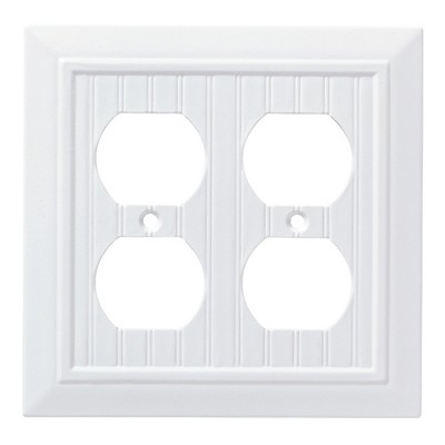 Franklin Brass Classic Beadboard Double Duplex Wall Plate White