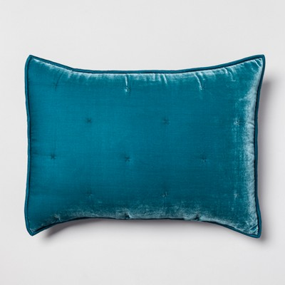 Teal Velvet Tufted Stitch Sham (Standard)- Opalhouse™