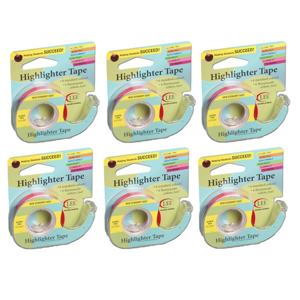 6pk Removable Highlighter Tape Pink Lee Products