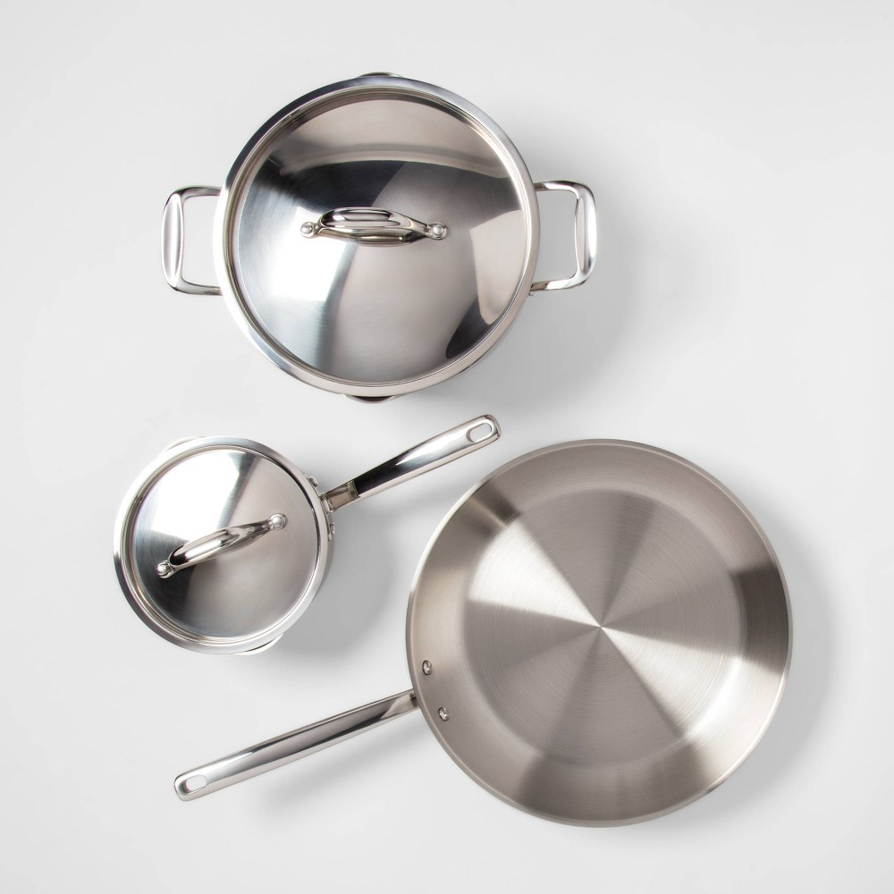 Image of 5pc Stainless Steel Cookware Set - Made By Design , Silver