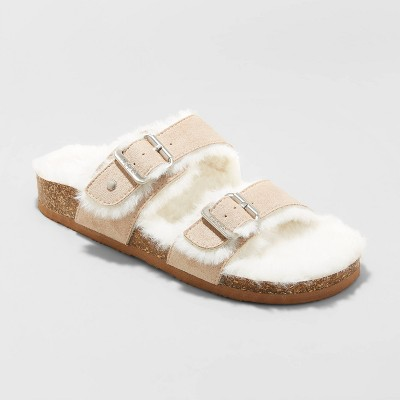 Women's Mad Love Keava Faux Fur Lined Footbed Sandals - Taupe