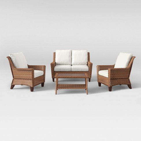 4pc All Weather Wicker Patio Conversation Set - Brown - Threshold™ - image 1 of 11