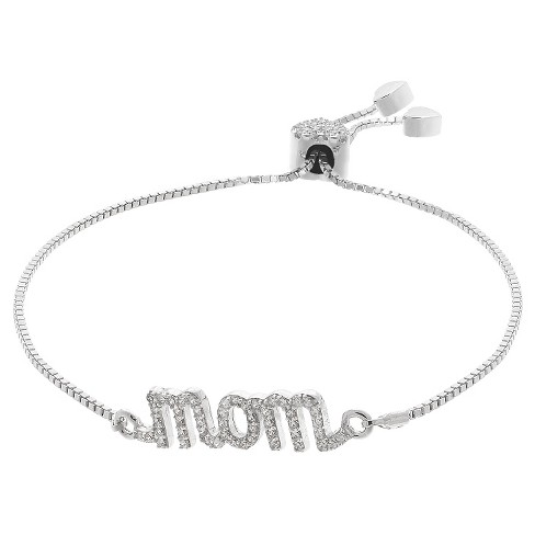 "Adjustable Bracelet with Clear Cubic Zirconia ""Mom"" in Silver Plate - Clear/Gray (9.5"") - image 1 of 1"