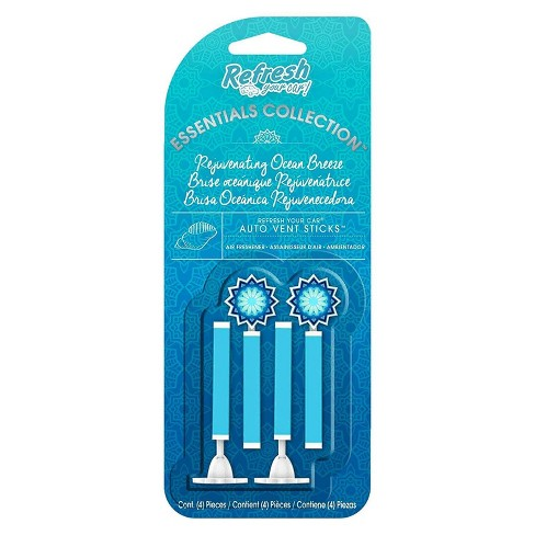 Refresh Your Car 4pk Essentials Collection Rejuvenating Ocean Breeze Vent Stick - image 1 of 1