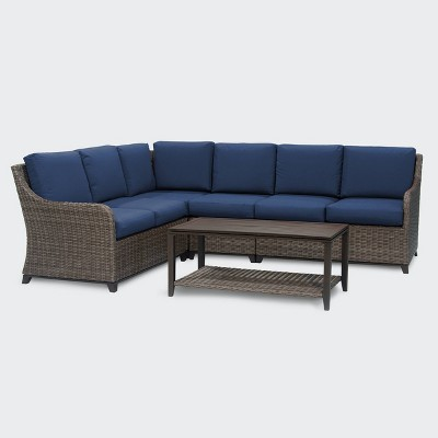 Mitchell 5pc Sectional Set - Navy - Leisure Made