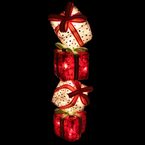 """Northlight 45"""" Lighted Red & White Tinsel And Candy Stacked Gift Boxes Christmas Outdoor Decoration : Target"""