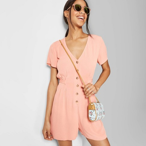 Women's Short Sleeve V-Neck Button-Front Romper - Wild Fable™ Coral - image 1 of 3