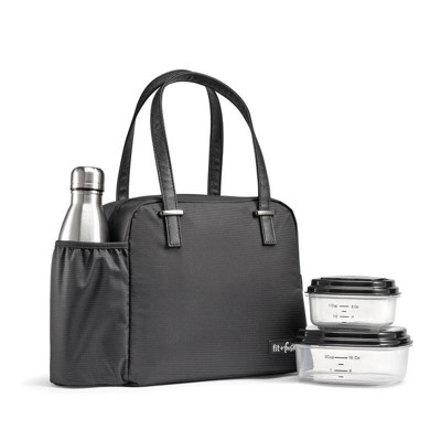 Fit & Fresh Laketown Lunch Tote with Containers and SS Water Bottle - Black