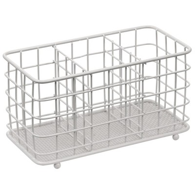 mDesign Metal Wire Kitchen Cutlery/Utensil Storage Bin, 3 Sections