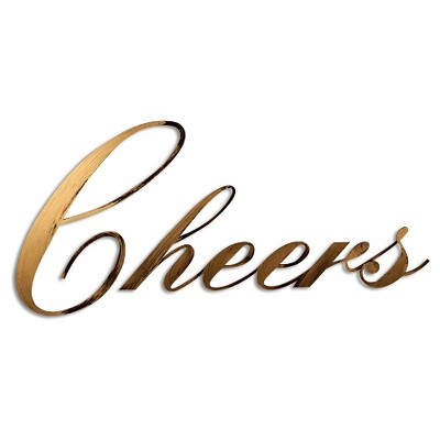 "28"" x 12"" Hand Painted 3D Wall Sculpture Cheers Gold- Letter2Word"