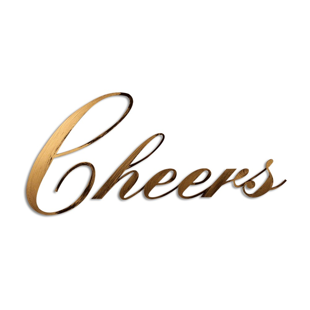 Image of Letter2Word Hand Painted Cheers 3D Wall Sculpture - Gold, Gold Beige