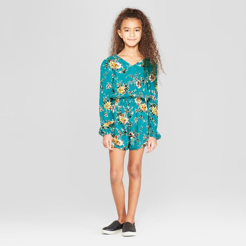 Best Sale Girls Floral V Neck Romper Art Class Blue M