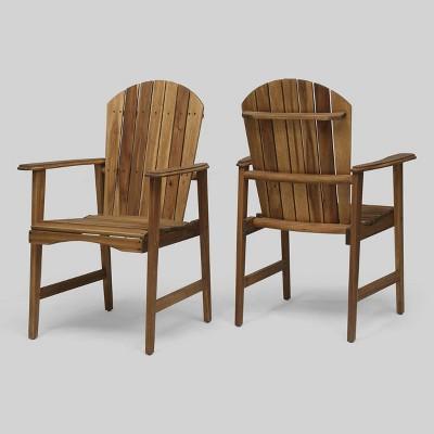 2pk Malibu Acacia Wood Patio Adirondack Dining Chairs - Christopher Knight Home