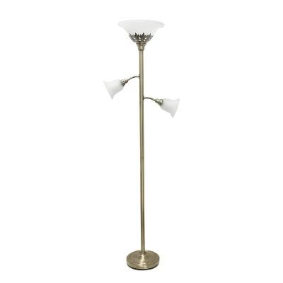3 Light Floor Lamp with Scalloped Glass Shade Antique Brass - Elegant Designs