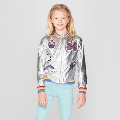 Girlsu0027 Nickelodeon JoJou0027s Closet Metallic Bomber Jacket   Silver