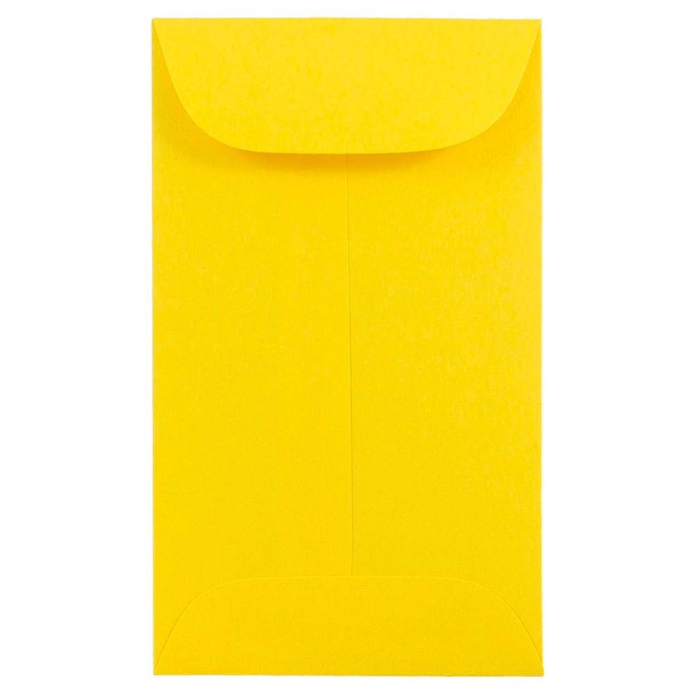 Jam Paper Brite Hue #6 Coin Envelopes, 3 3/8 x 6, 50 per pack, Yellow