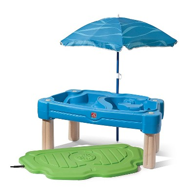 Step2 Cascading Cove Sand and Water Kids Activity Table with Detachable Umbrella and 6 Piece Accessory Kit for Interactive Sensory Play, Blue