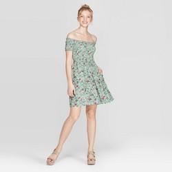 26651c4022a Women's Floral Print Short Sleeve Off the Shoulder Smocked Top Dress -  Xhilaration™