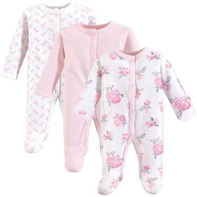 Hudson Baby Infant Girl Cotton Preemie Snap Sleep and Play 3pk, Basic Pink Floral, Preemie