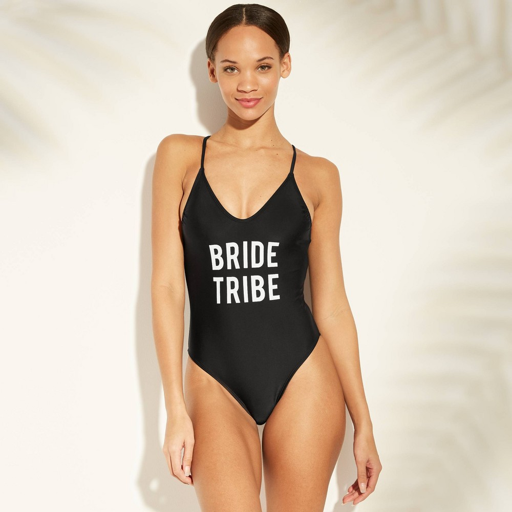Women's Bride Tribe Scoop Back One Piece Swimsuit - Xhilaration Black L