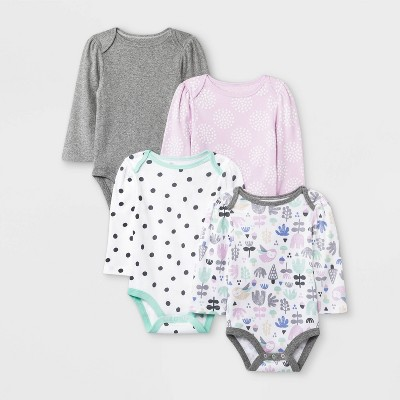 Baby Girls' 4pk Sweet Woodland Long Sleeve Bodysuits - Cloud Island™ White/Pink/Gray 0-3M