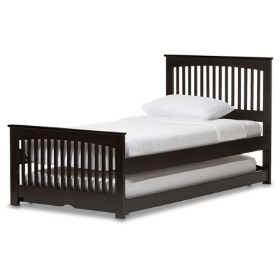 Hevea Solid Wood Platform Bed With Guest Trundle Bed - Twin - Dark Brown - Baxton Studio