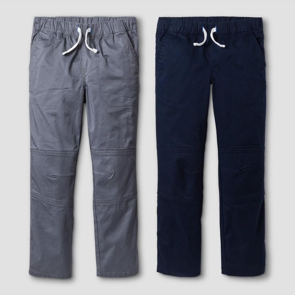 Big & Tall Boys' 2pk Pull-On Pants - Cat & Jack Gray/Blue 14 Husky