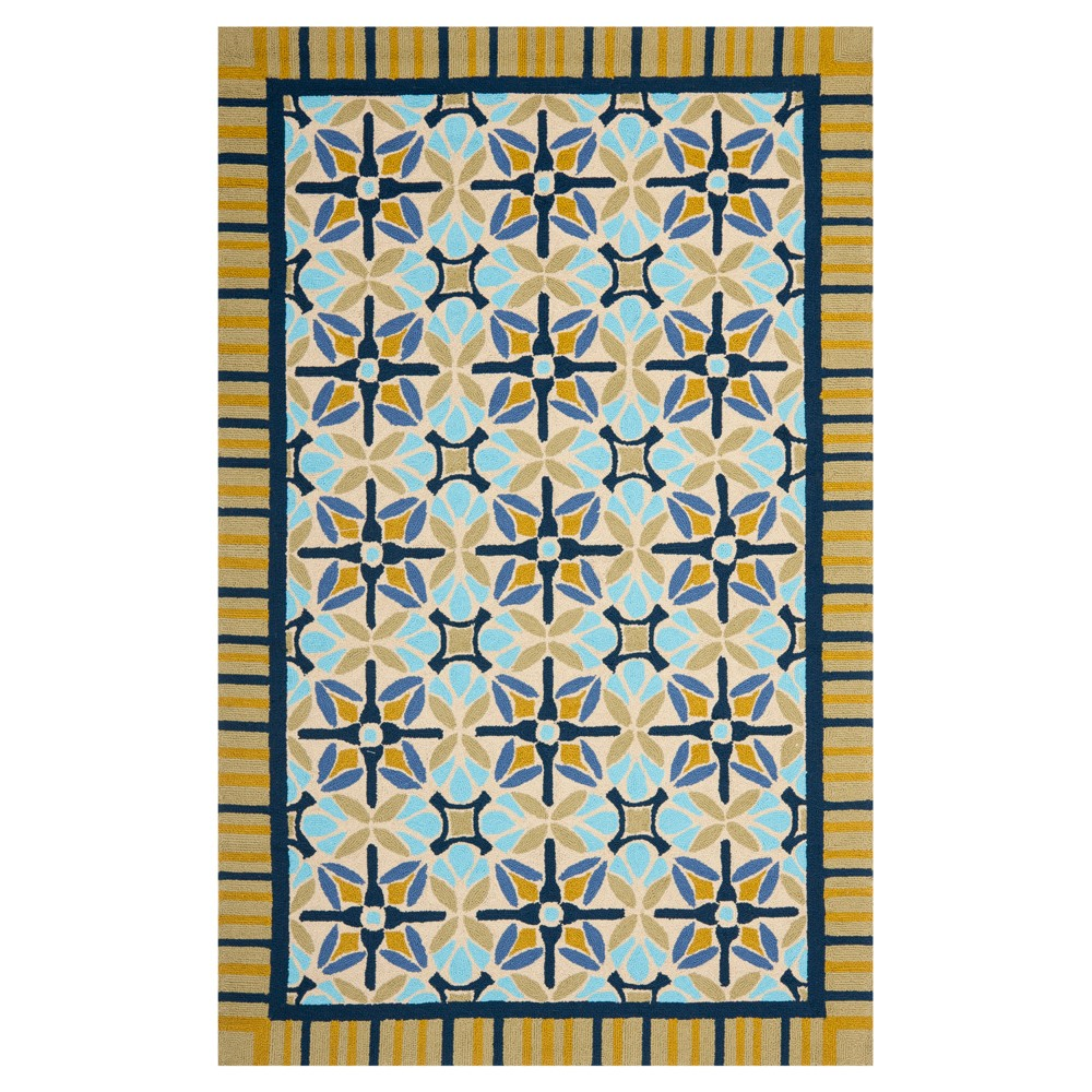 Tan/Blue Abstract Hooked Accent Rug - (3'6
