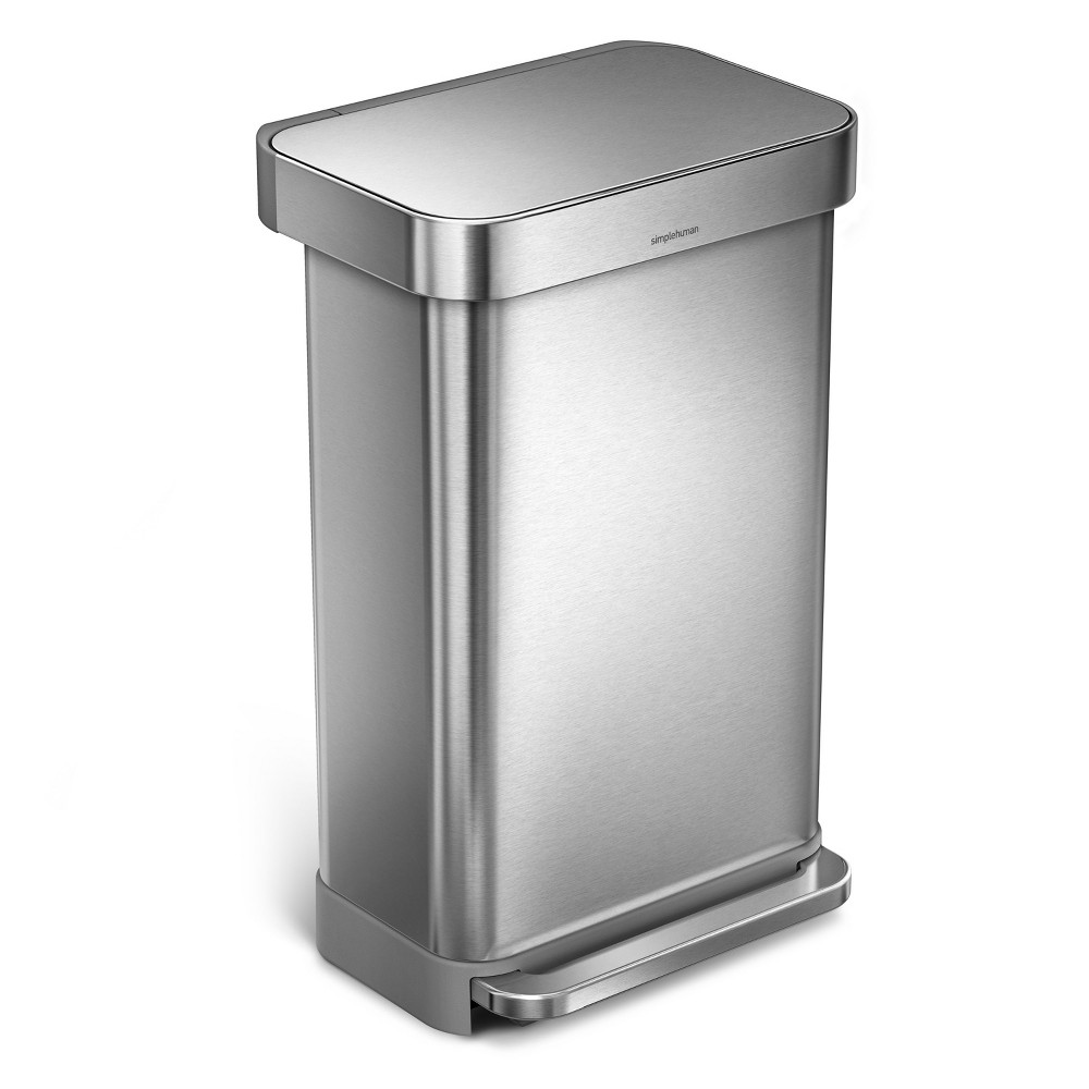 simplehuman studio 45 liter Rectangular Step Trash Can with Liner Pocket, Brushed Stainless Steel, Silver
