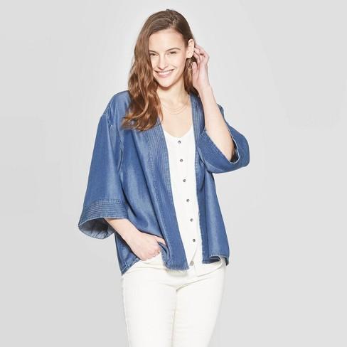 Women's Short Kimono - Universal Thread™ Denim Blue One Size - image 1 of 2