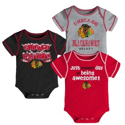 Chicago Blackhawks Baby Boys' 3pk Bodysuit Set 3-6 M