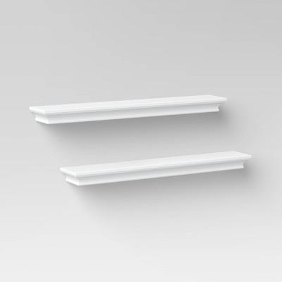 2pc Traditional Wall Shelf Set White - Threshold™