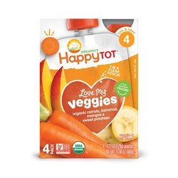 Happy Tot Love My Veggies Organinc Carrot Banana Mango 4.22oz Pouch 4pk