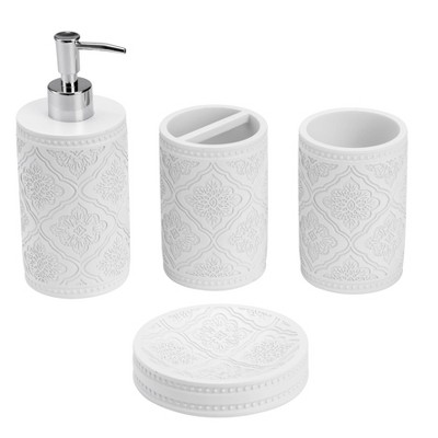 4pc Blanco Poliresine Arabesco Bathroom Set - KRALIX