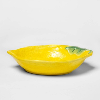 "7.6"" x 2.3"" Stoneware Lemon Tray Dish Yellow - Threshold™"