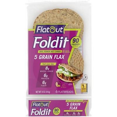 Flatout Foldit 5 Grain Flax Flatbread - 9oz/6ct