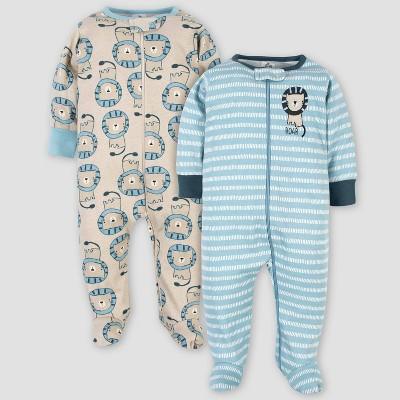 Gerber Baby Boys' 2pk Organic Cotton Lion Sleep N' Play - Green 3-6M
