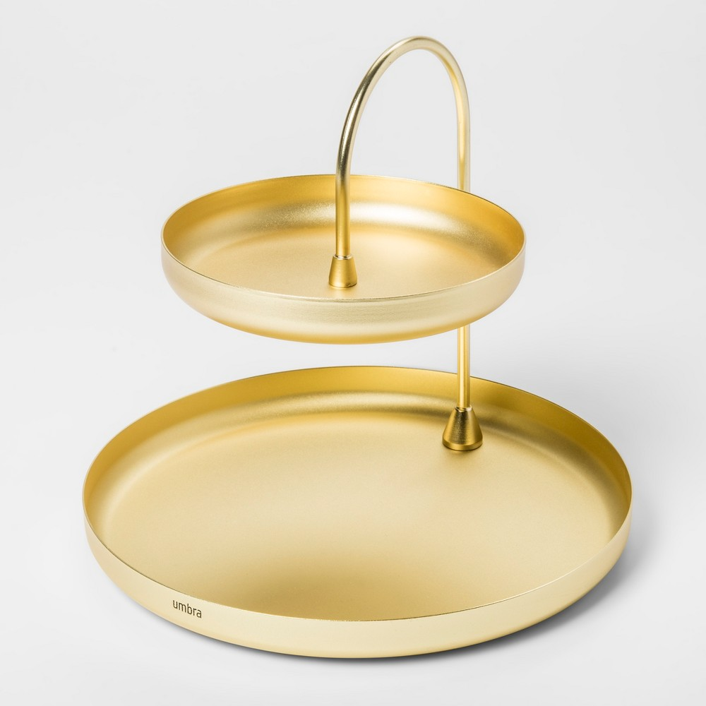 Image of 2 Tiered Poise Tray Brass - Umbra, Adult Unisex, Size: Small, Gold