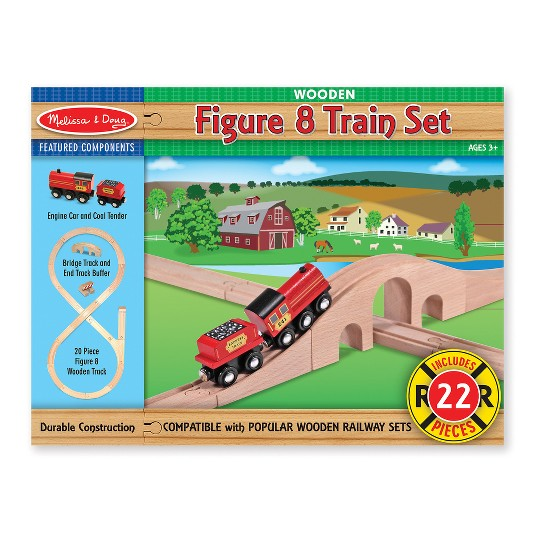 Melissa & Doug Classic Wooden Figure Eight Train Set (22pc) image number null
